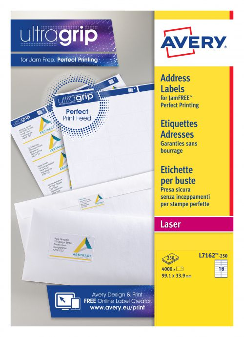 Avery Addressing Labels Laser Jam-free 16 per Sheet 99.1x33.9mm White Ref L7162-250 [4000 Labels]