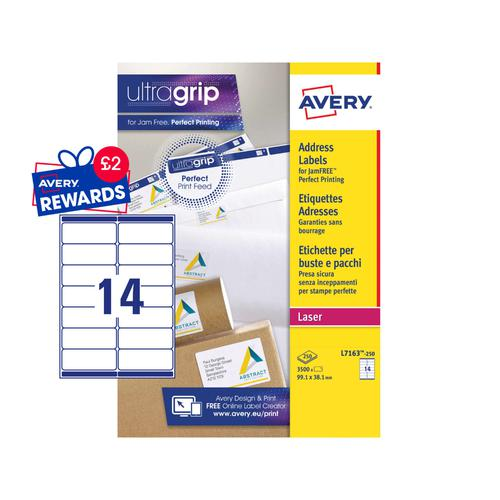 Avery Laser Address Label 99.1x38.1mm 14 Per A4 Sheet White (Pack 3500 Labels) L7163-250