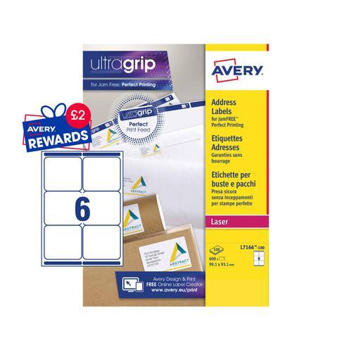 Avery Laser Parcel Label 99x93mm 6 Per A4 Sheet White (Pack 600 Labels) L7166-100