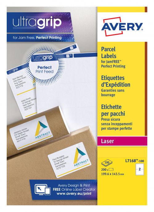 Avery QuickPEEL Laser Labels 199.6x143mm White (100) L7168-100