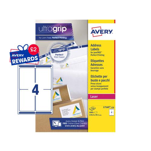 Avery Laser Parcel Label 139x99mm 4 Per A4 Sheet White (Pack 1000 Labels) L7169-250