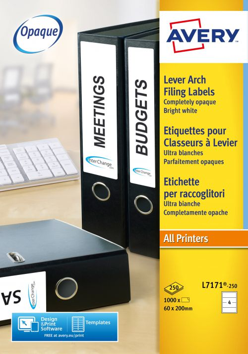 Avery Filing Labels Laser Lever Arch 4 per Sheet 200x60mm Ref L7171-250 [1000 Labels]