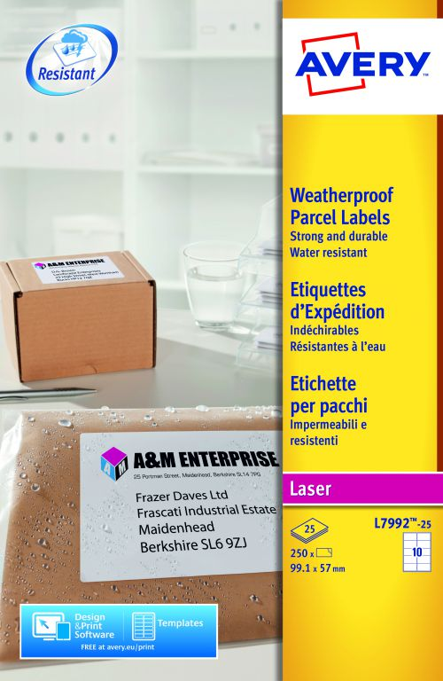 Avery Parcel Labels Weatherproof Laser 10 per Sheet 99.1x57mm White Ref L7992-25 [250 Labels]