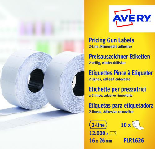 Avery Labelling Gun 2 Line Removable Labels White (1200) WR1626