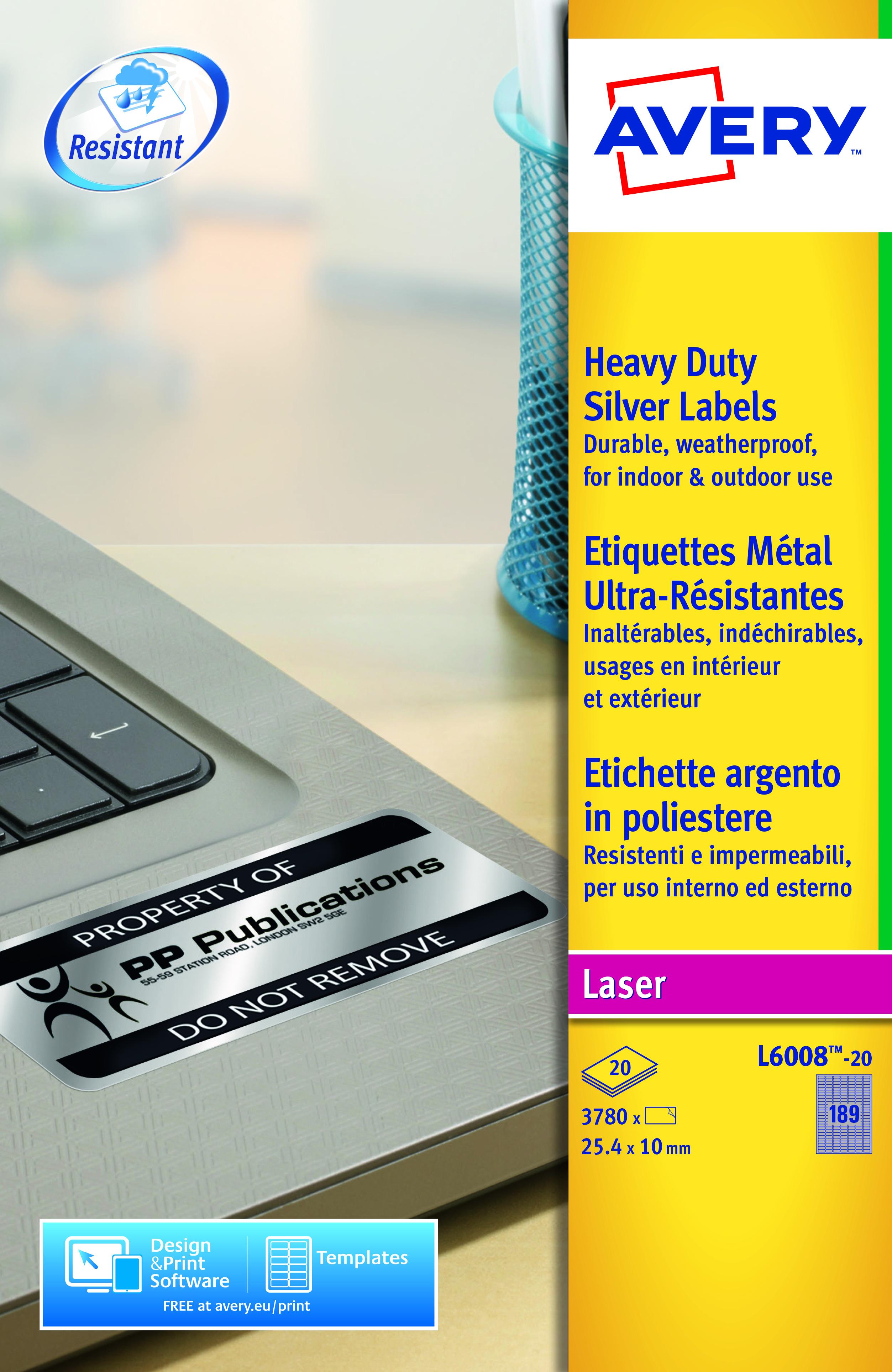 Avery HD Label 25.4x10mm SL PK3780