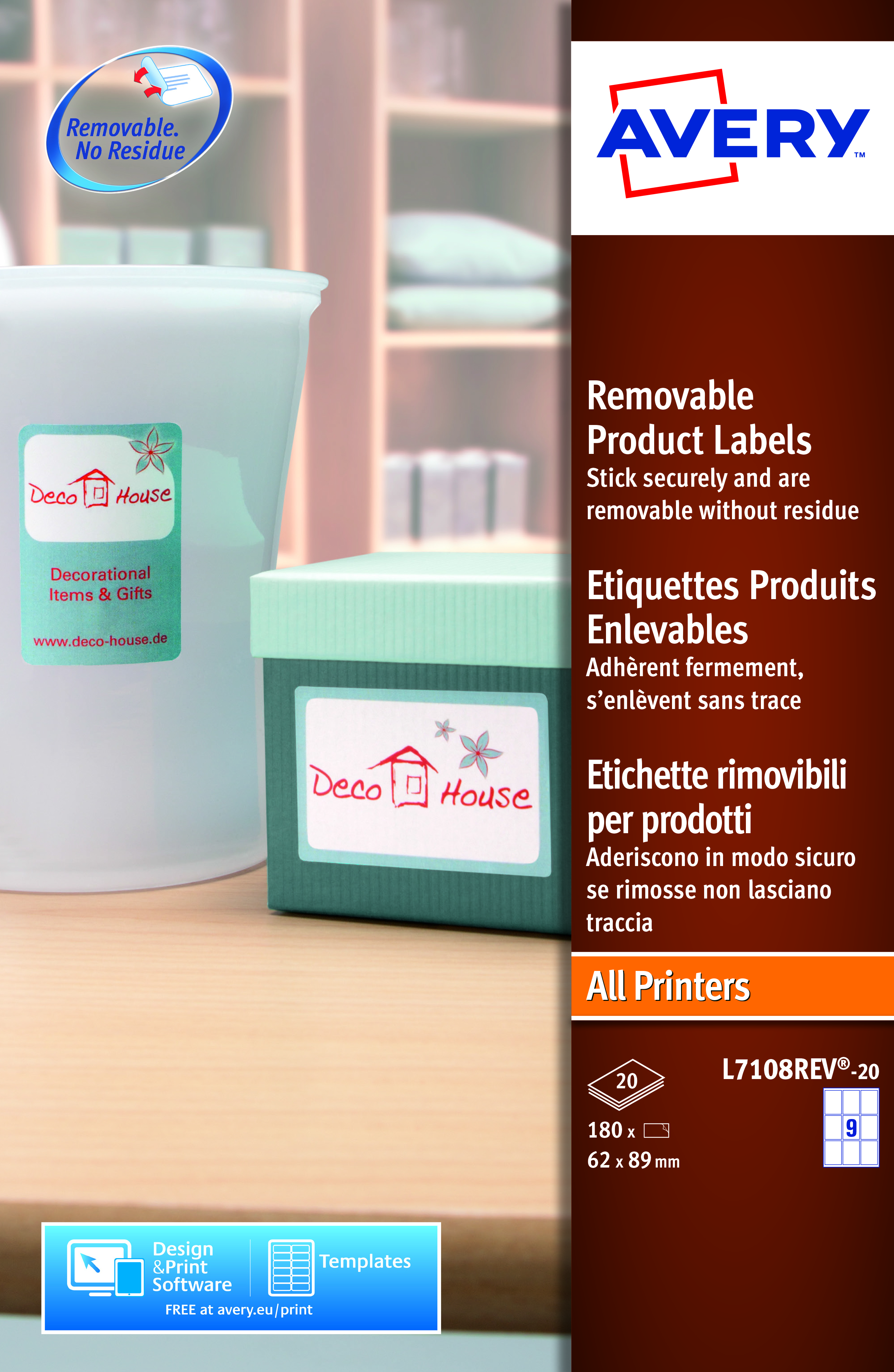 Rectangle Product Labels 62 x 89 mm