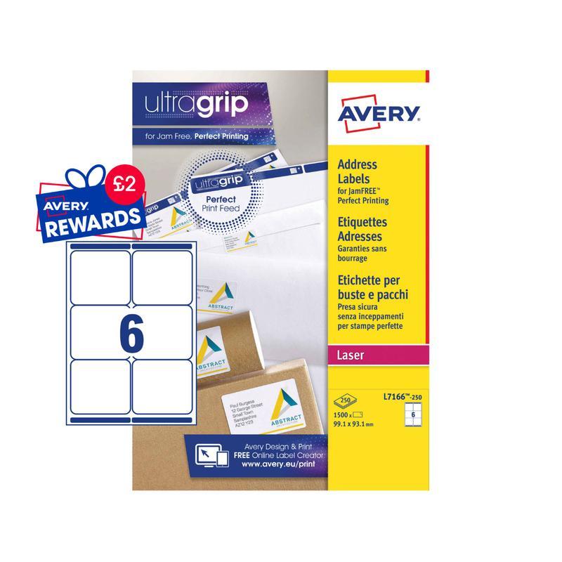 Address Avery Laser Parcel Label 99x93mm 6 Per A4 Sheet White (Pack 1500 Labels) L7166-250