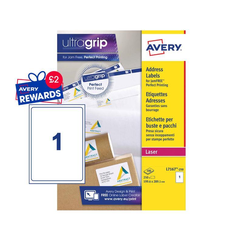 Address Avery Laser Parcel Label 199.6x289mm 1 Per A4 Sheet White (Pack 250 Labels) L7167-250