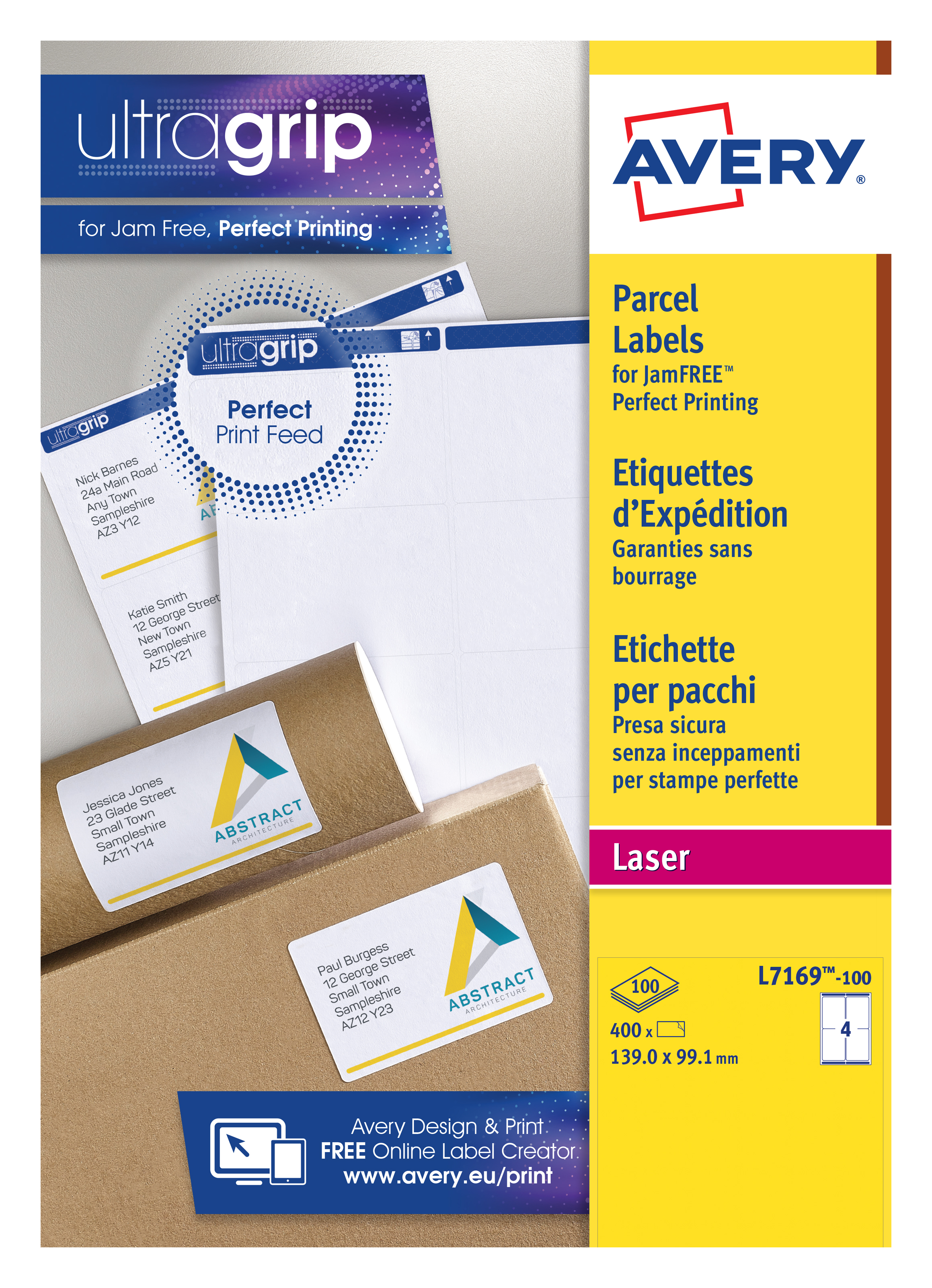 Address Avery Shipping Labels 139x99mm L7169-100 4 Per Sheet PK400