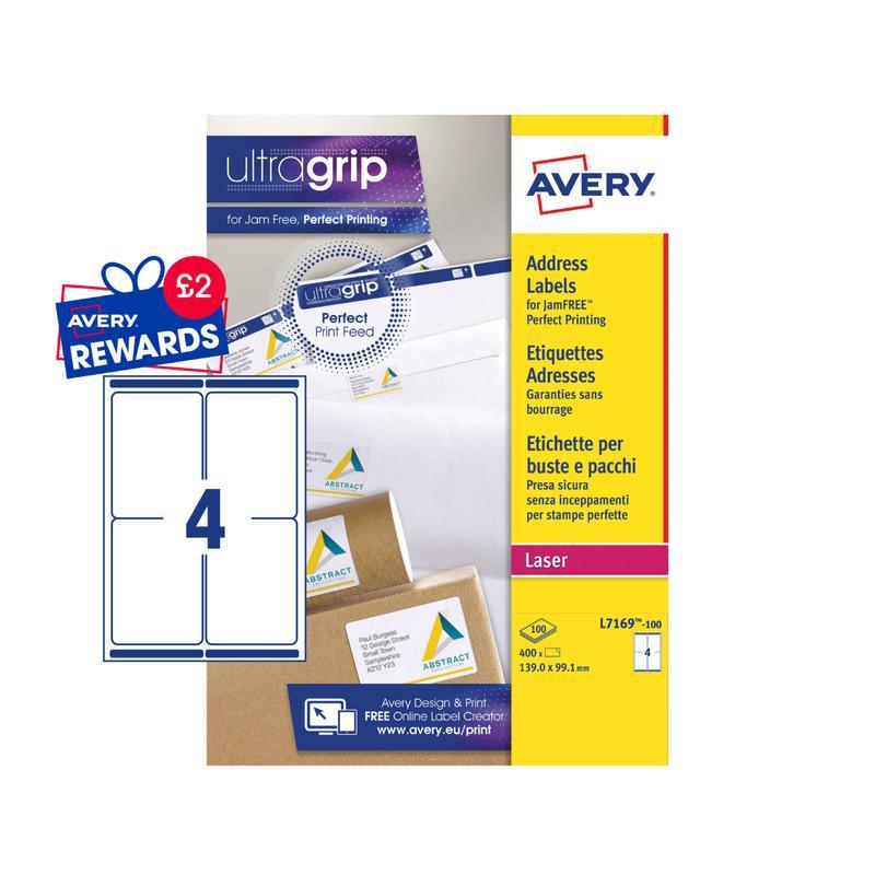 Address Avery Laser Parcel Label 139x99mm 4 Per A4 Sheet White (Pack 400 Labels) L7169-100