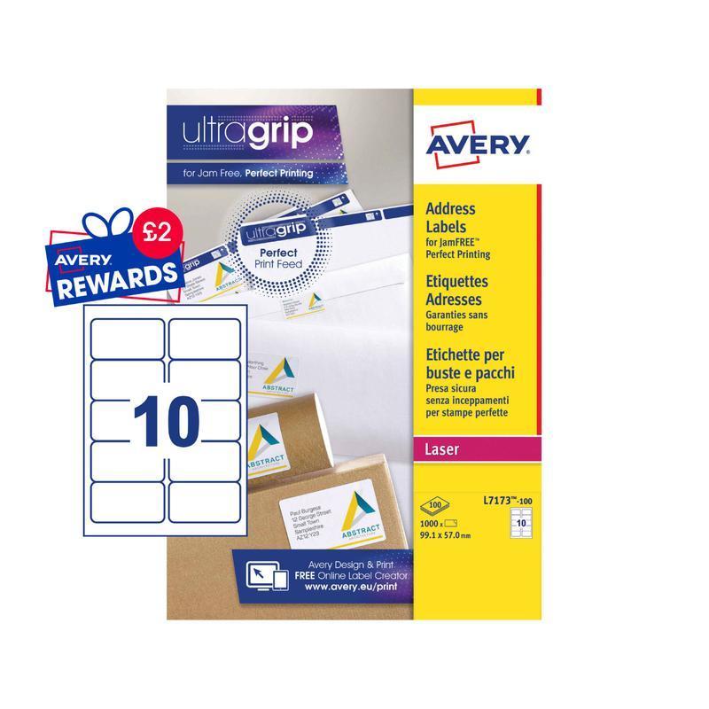Address Avery Laser Address Label 99.1x57mm 10 Per A4 Sheet White (Pack 1000 Labels) L7173-100