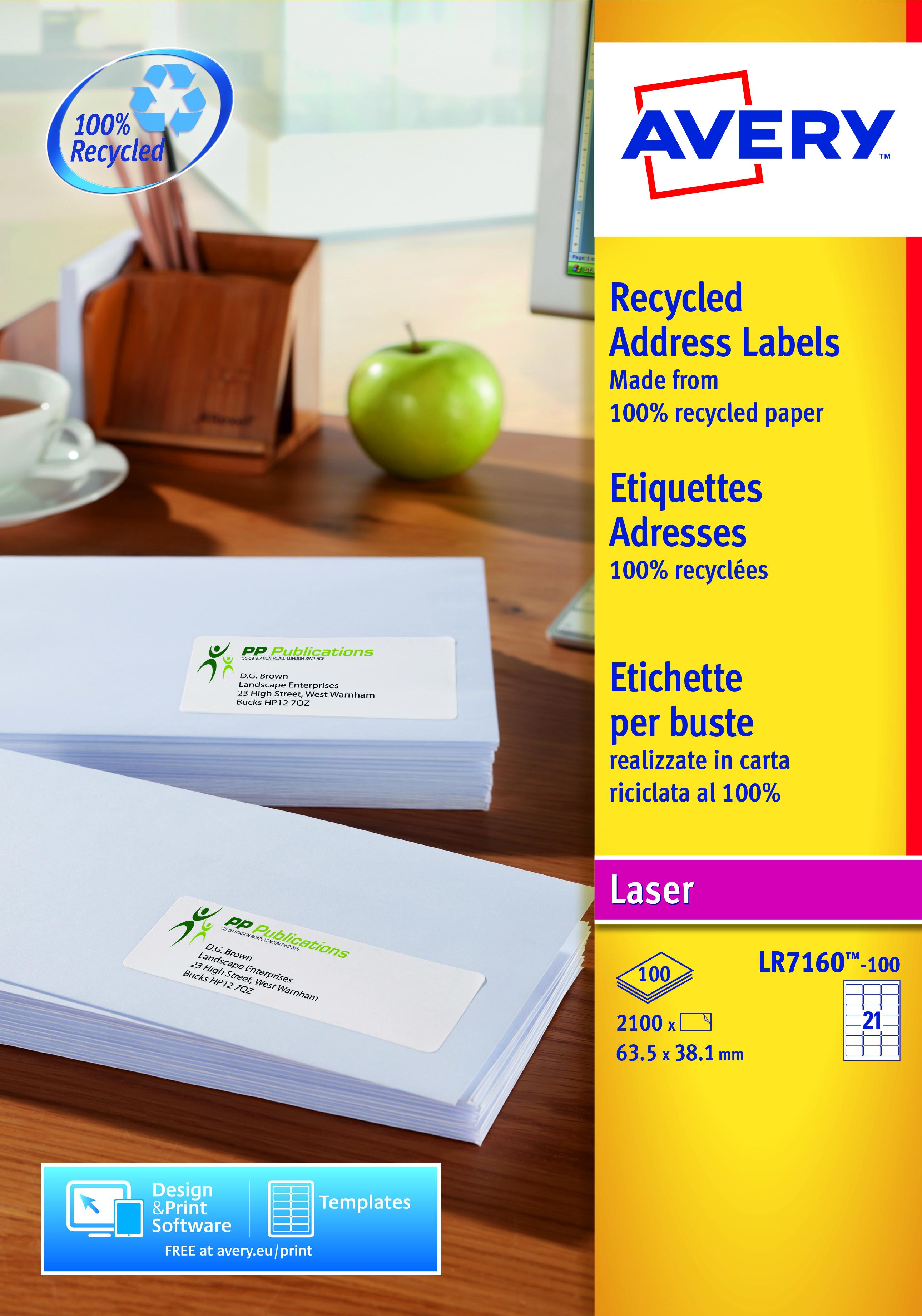 Avery LR7160-100 63.5x38.1mm Recycled Lbls 21 p/sheet PK2100
