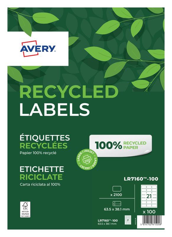 Address Avery Laser Recycled Address Label 63.5x38.1mm 21 Per A4 Sheet White (Pack 2100 Labels) LR7160-100