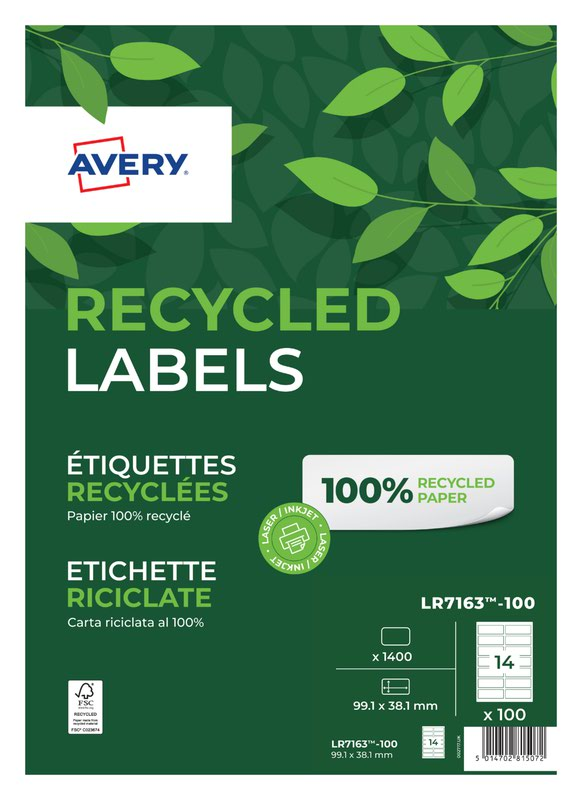 Address Avery Laser Recycled Address Label 99.1x38.1mm 14 Per A4 Sheet White (Pack 1400 Labels) LR7163-100