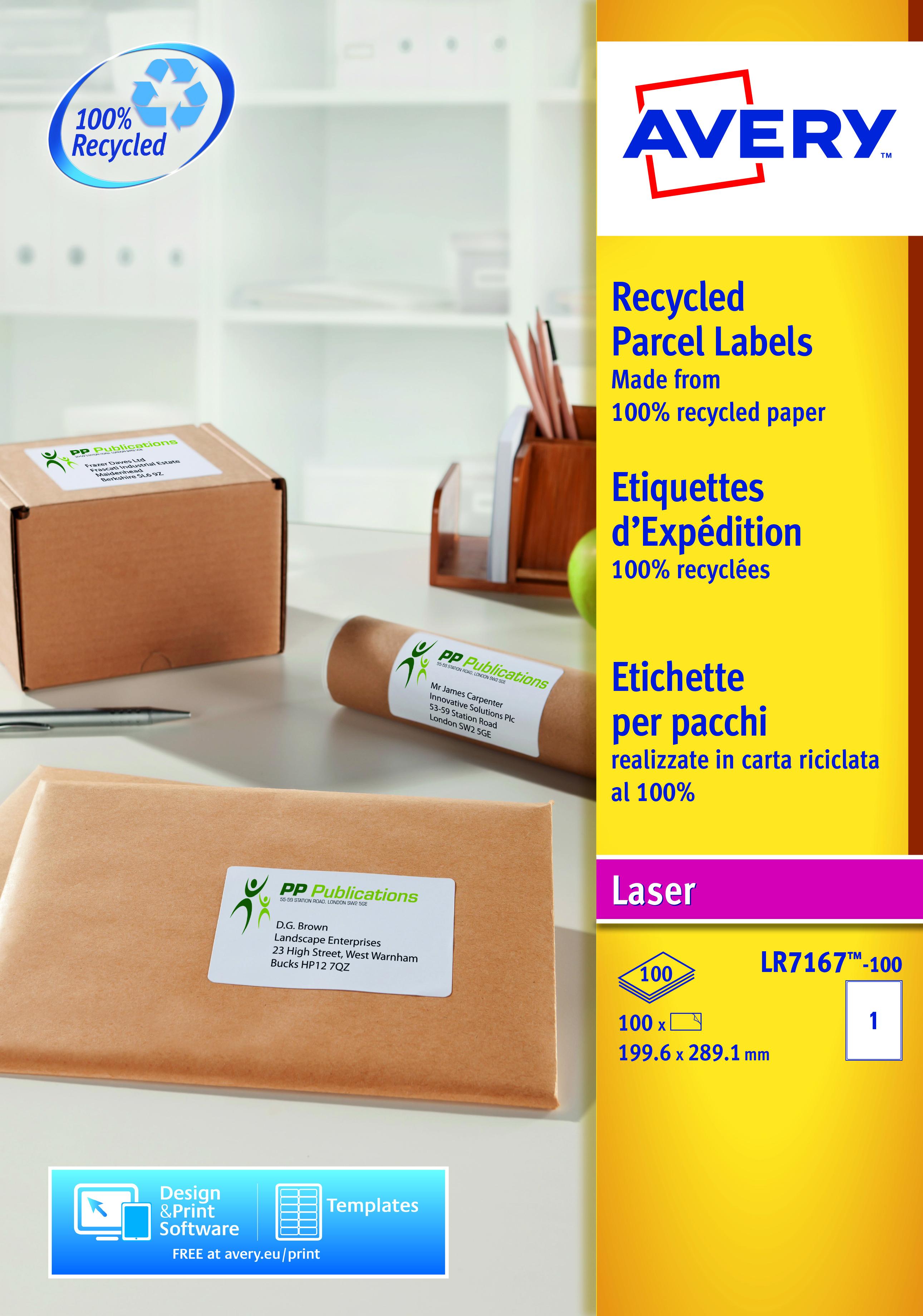 Avery LR7167-100 199.6x289.1mm Recycled Lbl 1 p/sheet PK100