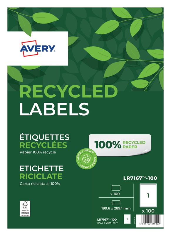 Address Avery Laser Recycled Address Label 199.6x289.1mm 1 Per A4 Sheet White (Pack 100 Labels) LR7167-100