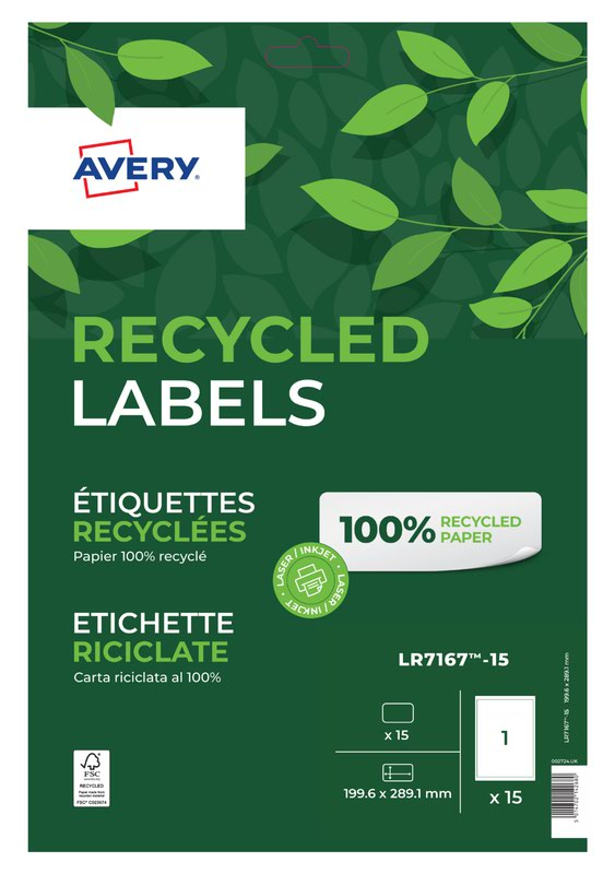 Avery Laser Recycled Address Label 199.6x289.1mm 1 Per A4 Sheet White (Pack 15 Labels) LR7167-15