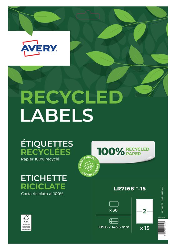 Avery Laser Recycled Address Label 199.6x143.5mm 2 Per A4 Sheet White (Pack 30 Labels) LR7168-15