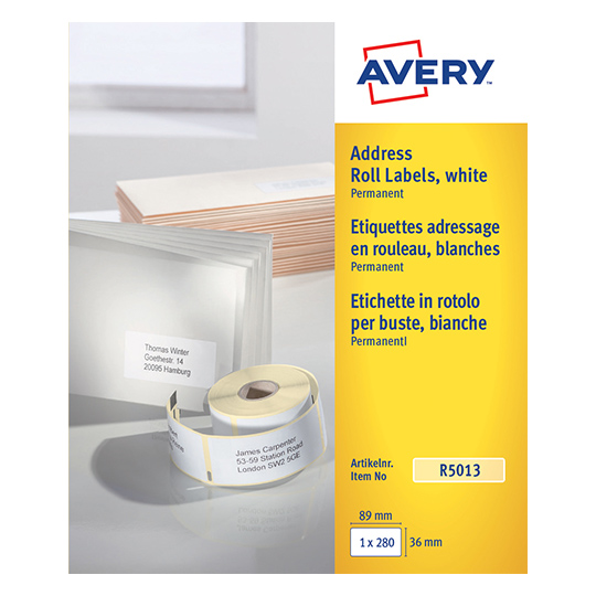 Continuous Labels Avery Personal Label Printer Roll 89x36mm R5013 (280 Labels)
