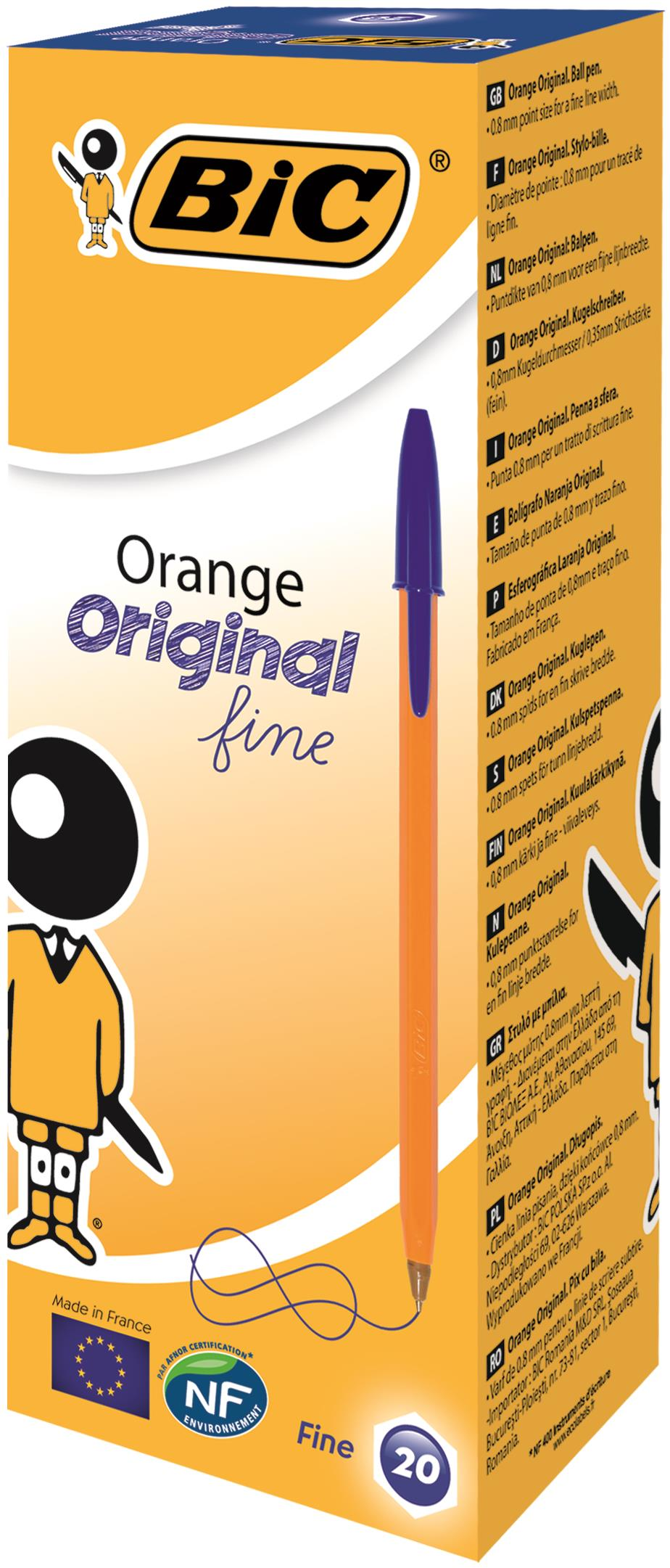 Bic Orange Fine Ballpoint Blue Ink Pen (Pack of 20) 1199110111