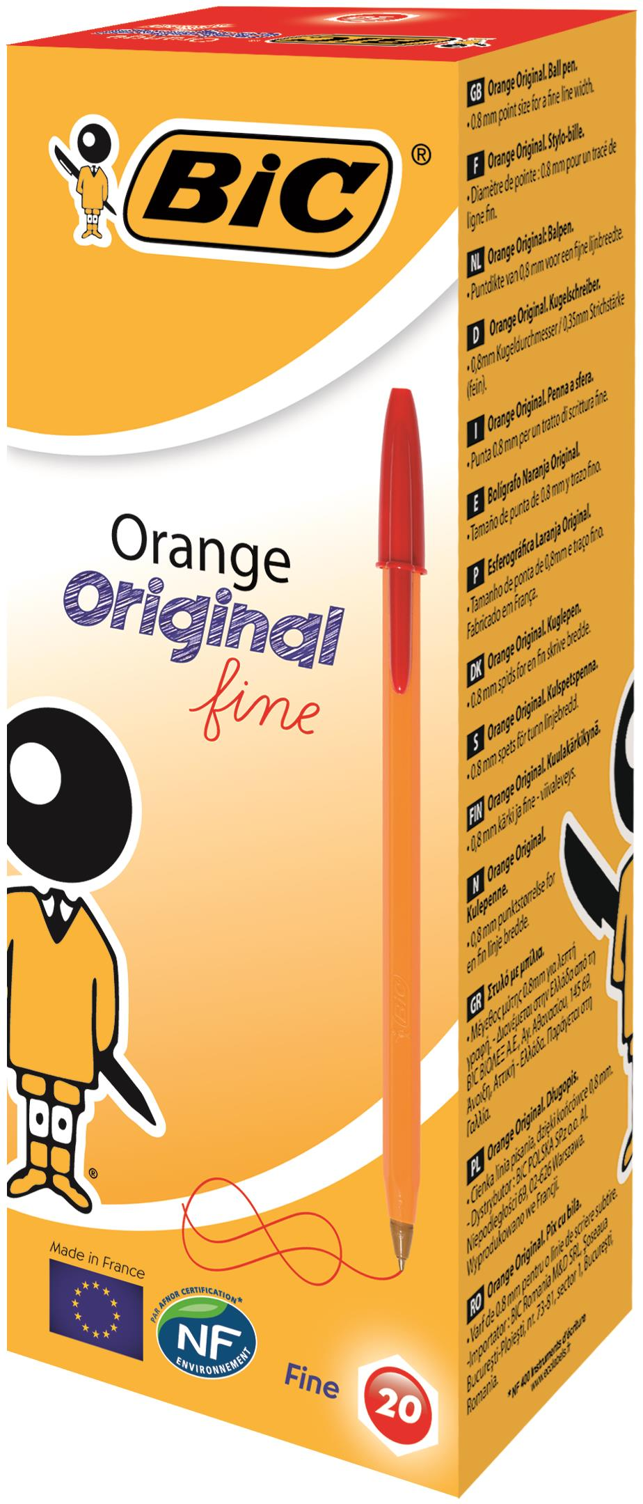 Bic Orange Fine Ballpoint Pen Red (Pack of 20) 1199110112
