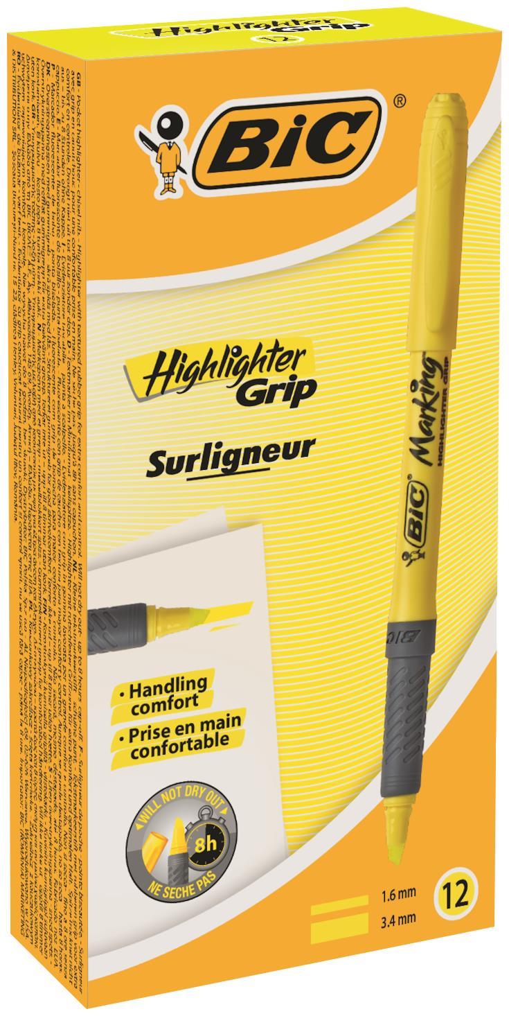 Bic Highlighter Grip Yellow PK12