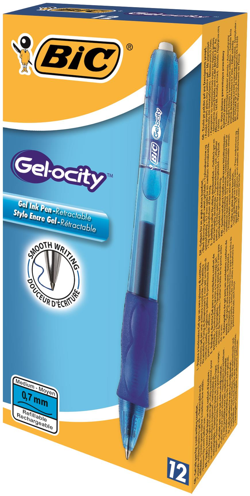 Bic Gelocity Gel Rollerball Pen Retractable Blue Ref 829158 [Pack 12] [FREE Vel Pro Mech Pencil]