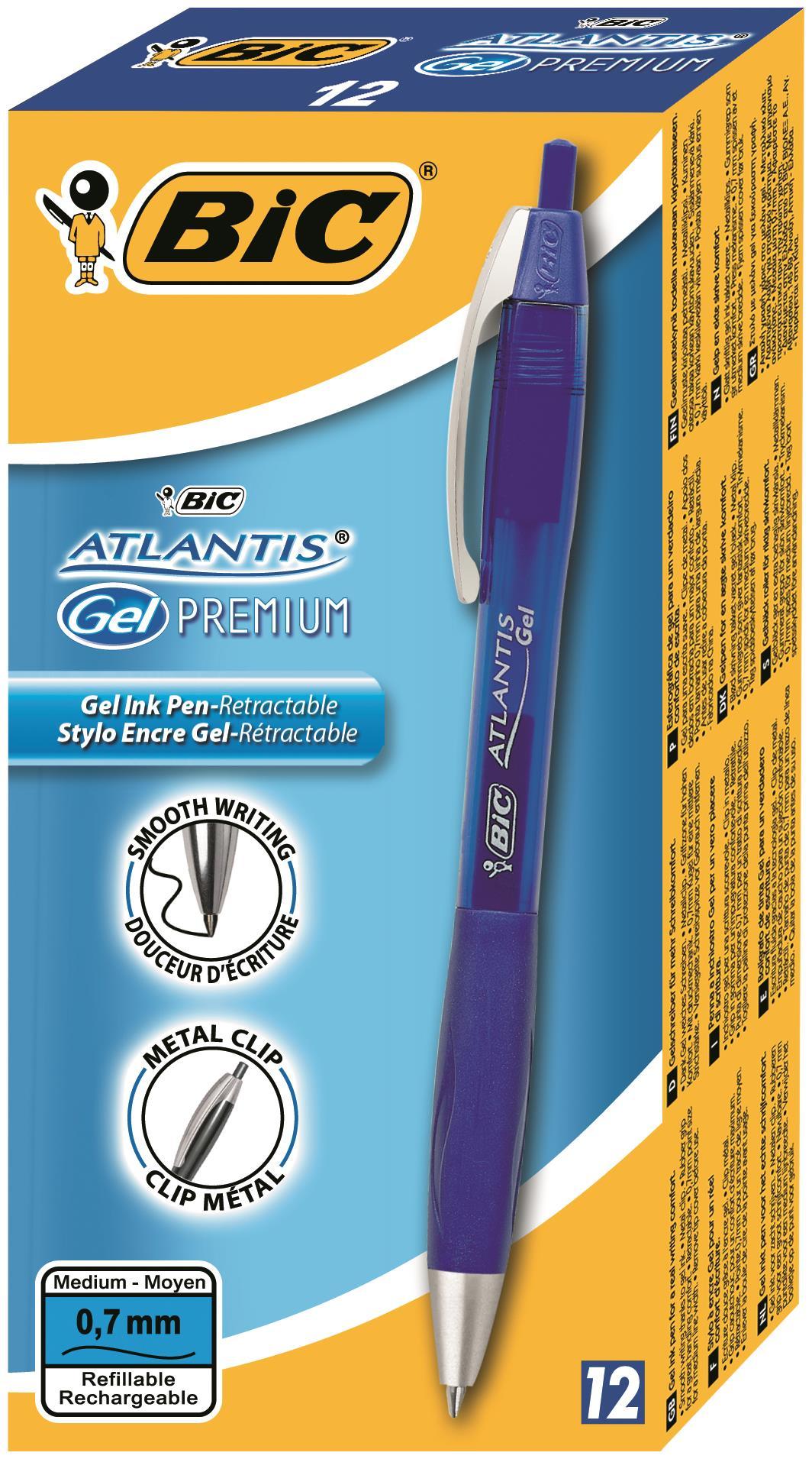 Bic Atlantis Premium Retractable Gel Roller 0.6mm Line Width Blue Ref 895797 [Pack 12]