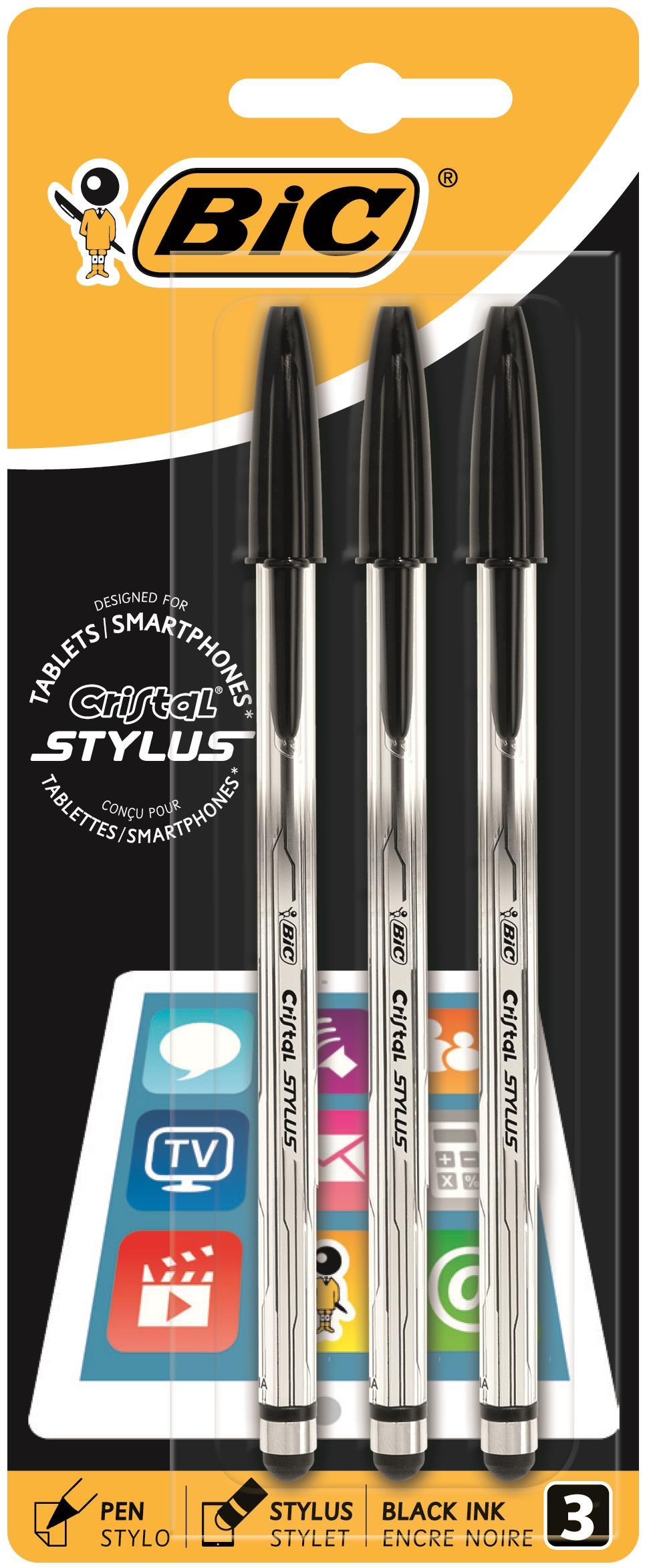 Bic Cristal 2-in-1 Stylus Pen PK3