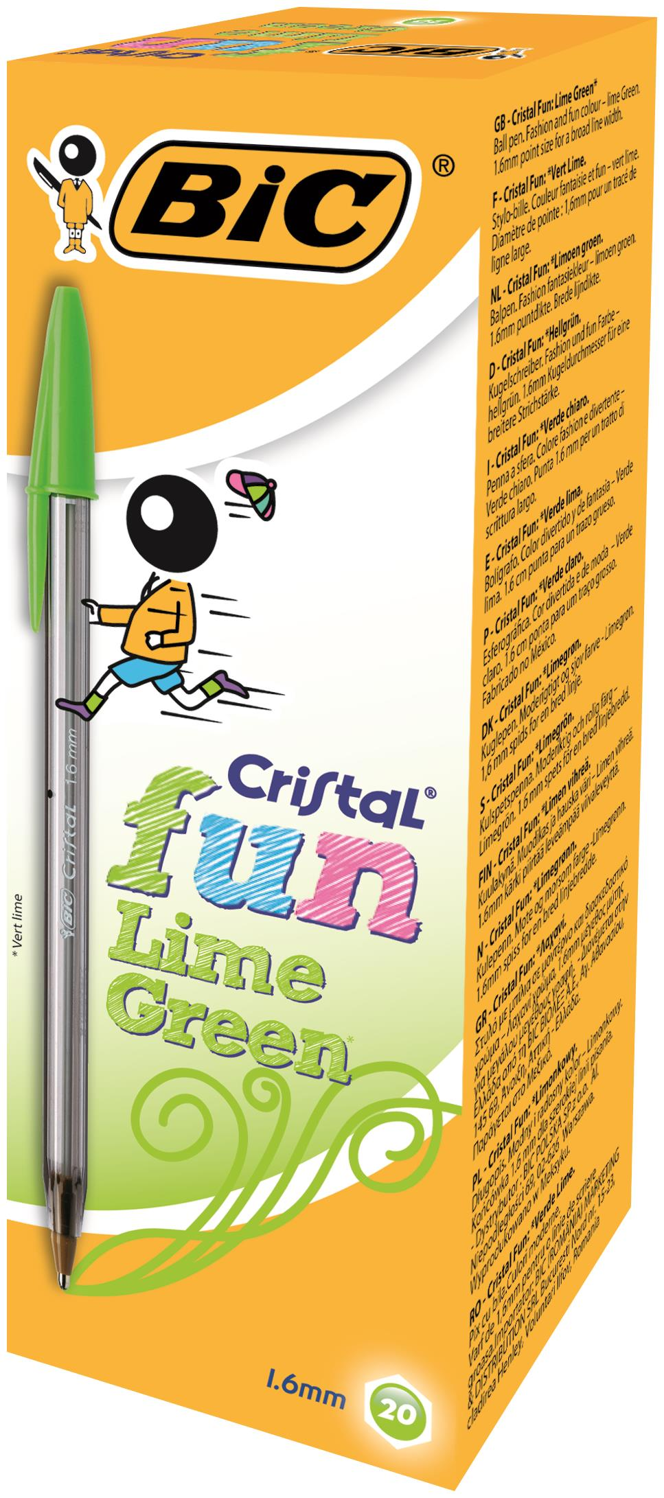 Bic Cristal Fun Lime Green PK20