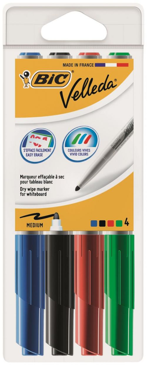 BIC Velleda Whiteboard Marker 1741 Bullet Tip Assorted Colours (4) 1199001744