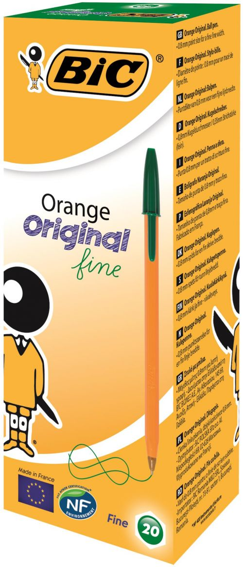 Bic Orange Ball Pen Fine Green PK20
