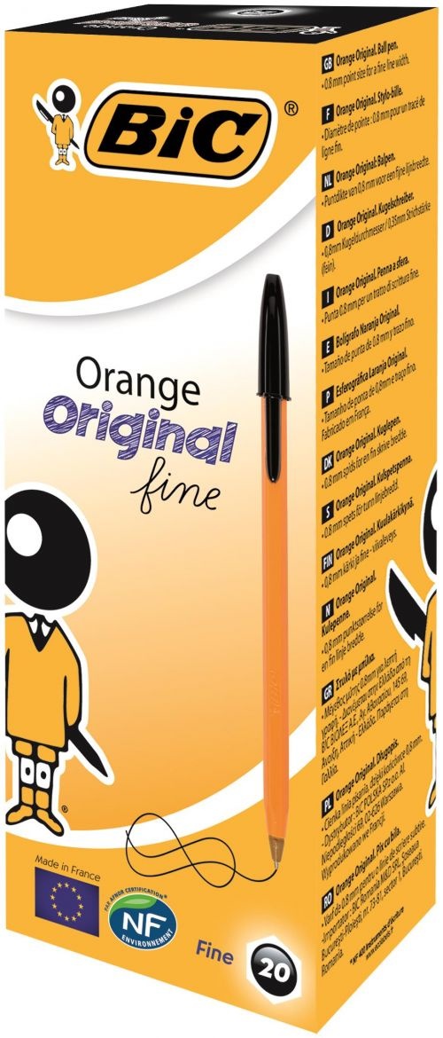 Bic Orange Fine Ballpoint Pen Black Pk20