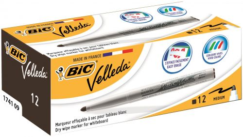 Bic Velleda Whiteboard Marker 1741 Bullet Black PK12