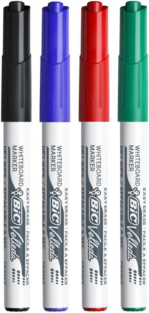 Bic Velleda 1741 Whiteboard Marker Bullet Tip Line Width 2mm Assorted Ref 1199001744 [Wallet 4]