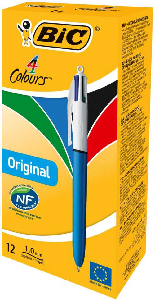 Bic 4-Colour Ball Pen Medium 1.0mm Tip 0.32mm Line Blue Black Red Green Ref 801867 [Pack 12]