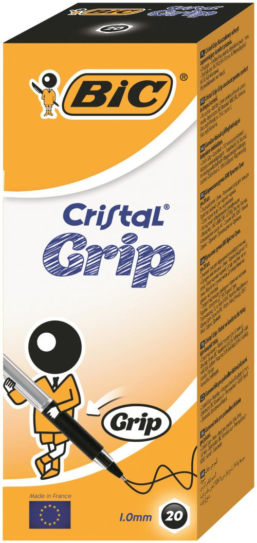 Bic Cristal Grip Ball Pen Medium Black Pk20