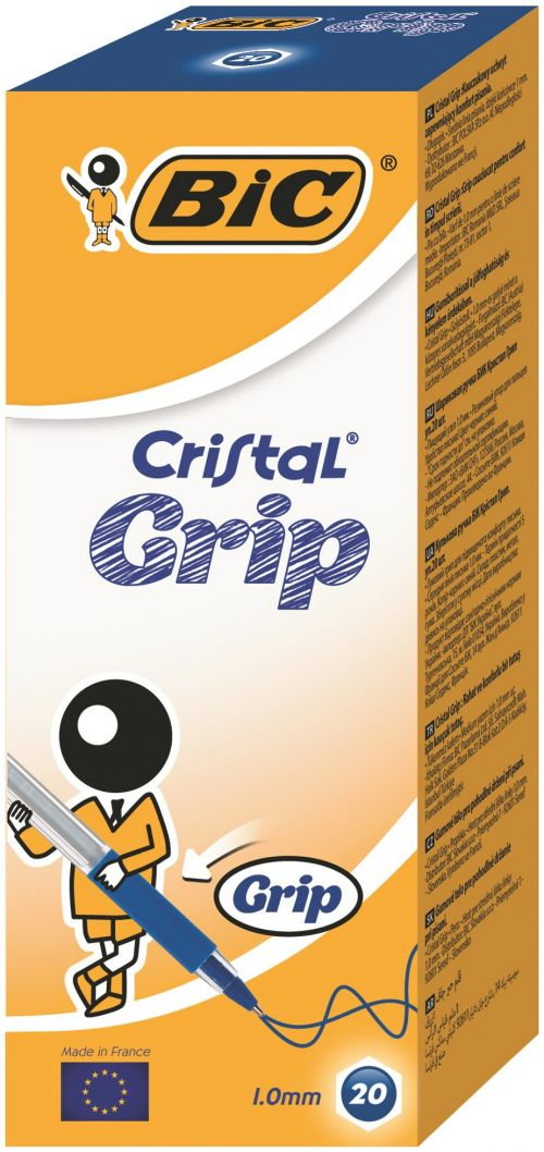 Bic Cristal Grip Ball Pen Medium Blue Pk20