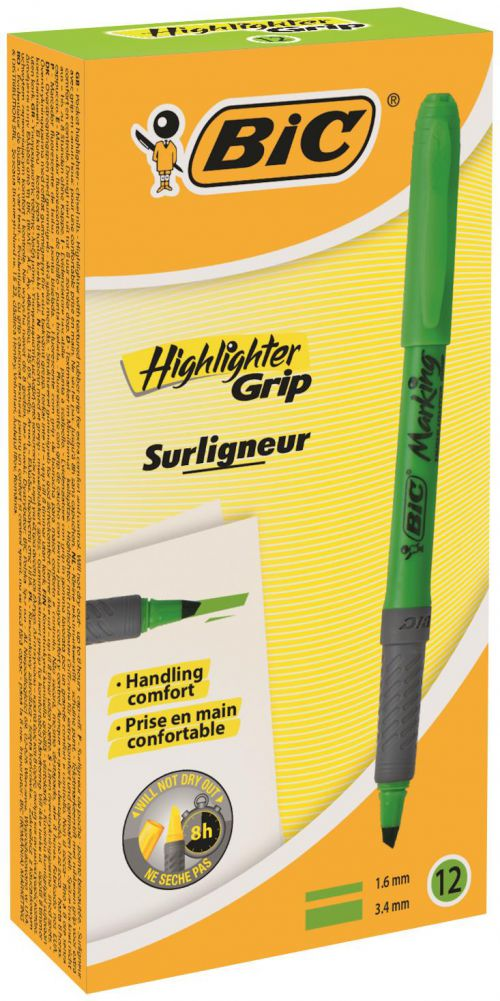 Bic Briteliner Grip Chisel Tip Highlighter Pen Green PK12