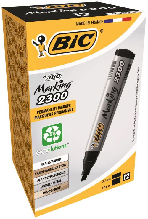 Bic 2300 Permanent Marker Chisel Tip Black (Pack of 12) 820926