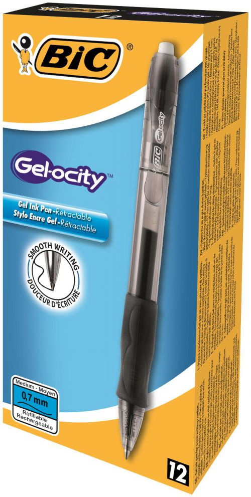 Bic Velocity Gel Rollerball Grip Retractble 0.7mm Bk PK12