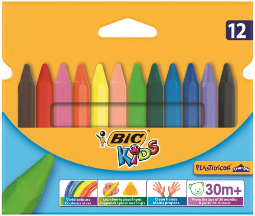 Bic Kids Plastidecor Triangle Crayons Assorted (Pack of 12) 829773