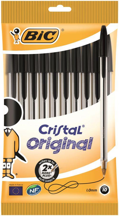Bic Cristal Ballpoint Pen 1.0mm Tip 0.32mm Line Black (Pack 10)