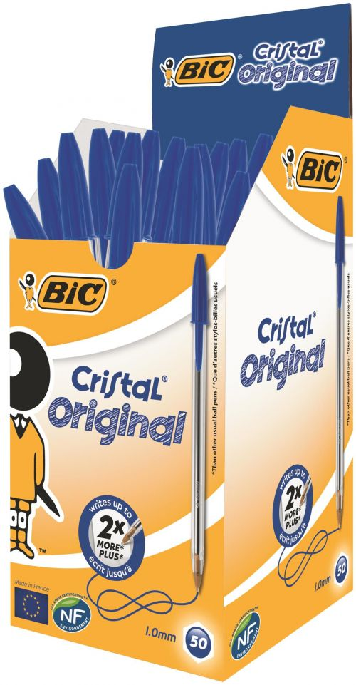 Bic Cristal Ball Pen Medium 1.0mm Blue PK50