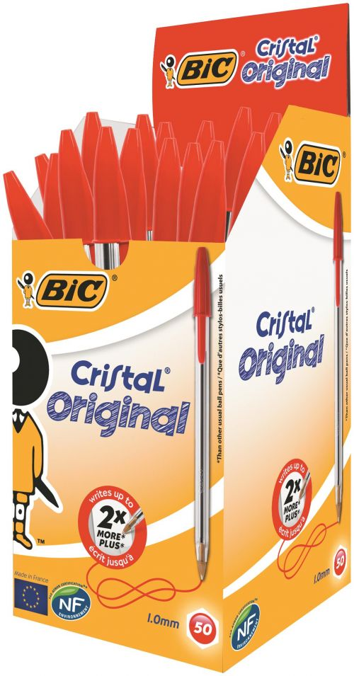 Bic Cristal Ball Pen Medium 1.0mm Red PK50