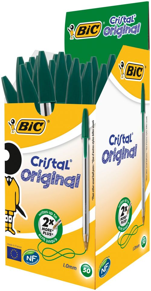 Bic Cristal Ball Pen Medium 1.0mm Green PK50