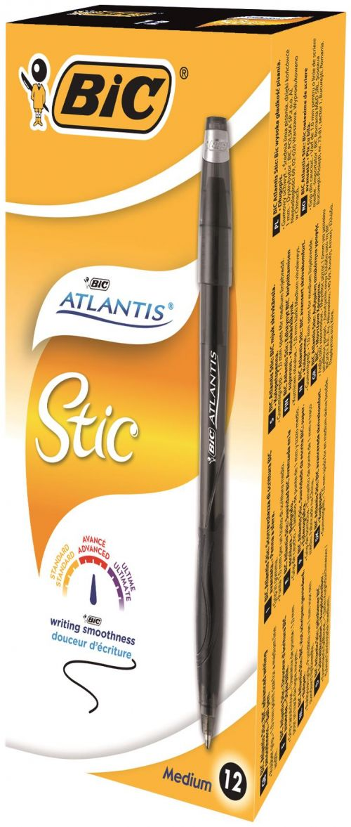 BIC Atlantis Stic Ballpoint Pen 1.2mm Black 837386