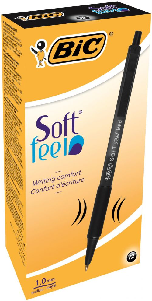 Bic Soft Feel Black Rtrct Ball Pen Pk12