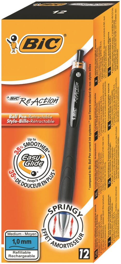 Bic ReAction Ball Retractable Black (Pack 12)
