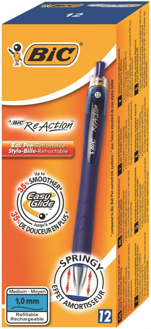Bic ReAction Ball Retractable Blue (Pack 12)